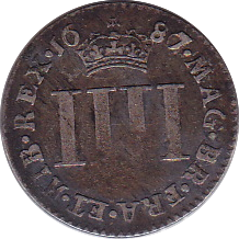1687 MAUNDY FOURPENCE ( GF )