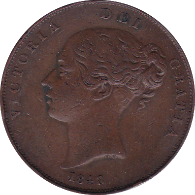 1848 PENNY ( GVF ) 8 OVER 7