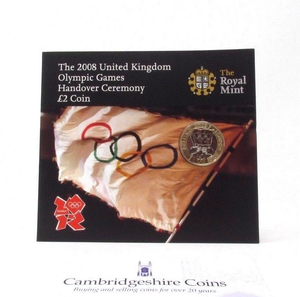2008 £2 UNCIRCULATED PRESENTATION PACK LONDON OLYMPIC HAND OVER