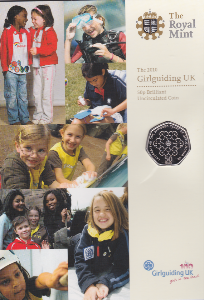 2010 Brilliant Uncirculated Girl Guiding 50p Coin Pack British