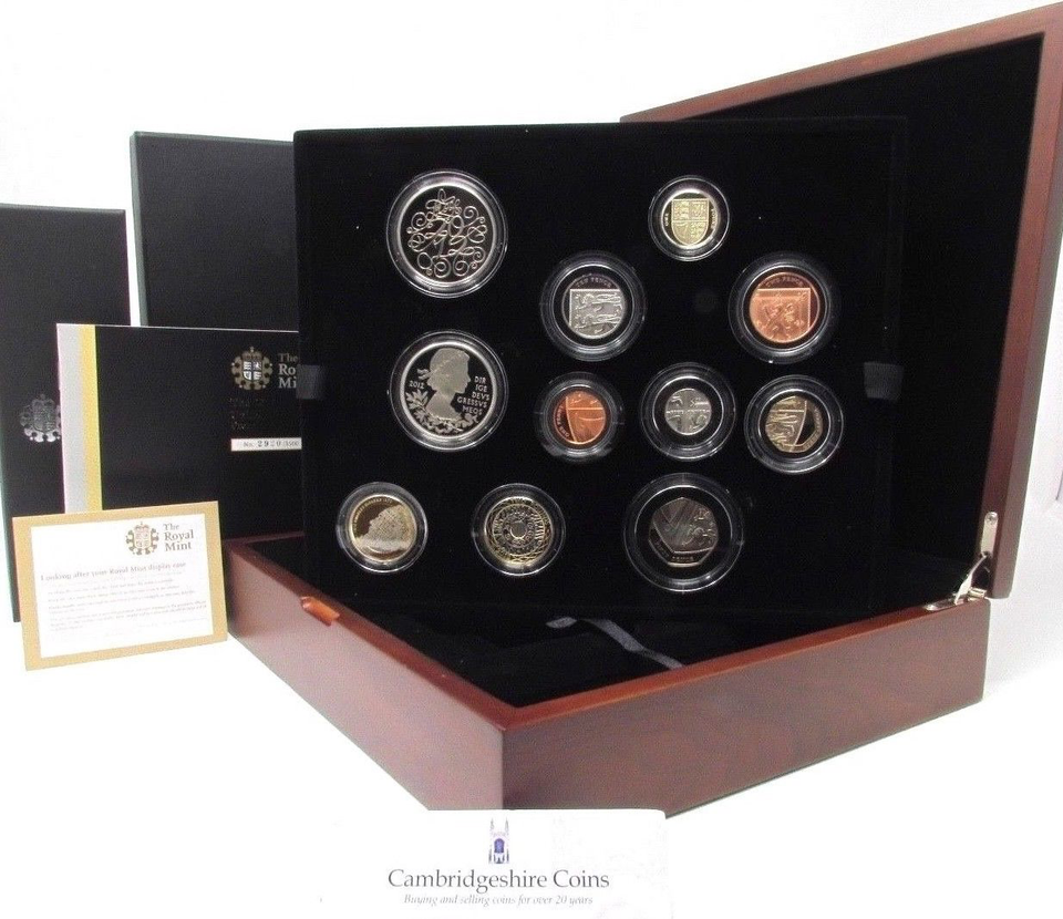2012 Premium Proof 11 Coin Set Box COA Royal Mint Gift wooden box £5 £2 £1 50p