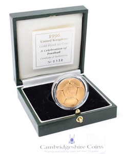 1996 Gold Proof £2 Celebrating Football Coin Box COA Bullion Double Sovereign