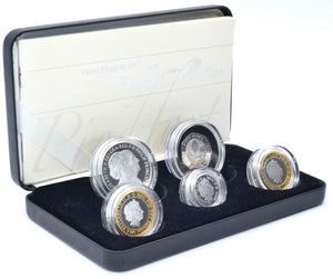 2007 Piedfort Silver Proof Coin Year Set £5 £2 £1 50p BOX + COA Royal Mint