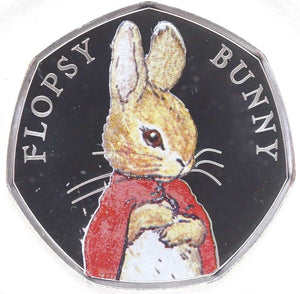 2018 Brand New Beatrix Potter Colour Flopsy Bunny Silver Proof 50p BOX + COA