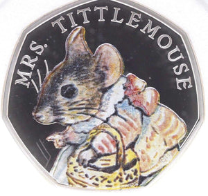 2018 Brand New Beatrix Potter Colour Mrs. Tittlemouse Silver Proof 50p BOX + COA