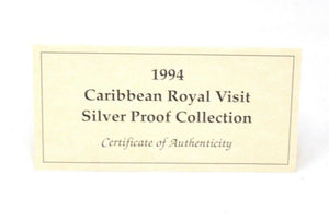 1994 Caribbean Dollars Royal Visit Silver Proof Coin Collection BOX + COA