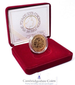 2003 Gold Proof 22ct £5 Coin Crown Coronation Jubilee Box COA Royal Mint