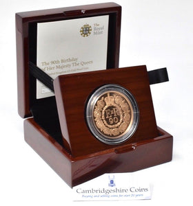 2016 Gold Proof 22ct £5 Coin Crown Queens 90th Birthday BOX + COA Royal Mint