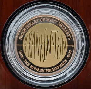 2018 Gold Proof £2 Mary Shelley Frankenstein Monster Coin Box COA 570 Limited