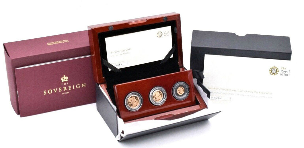 2018 Gold Proof Sovereign 3 Coin Set 22ct Bullion Royal Mint BOX + COA