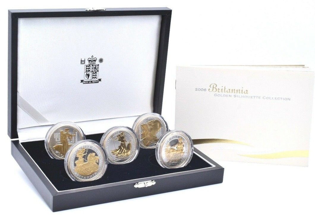 2006 Silver Proof Britannia Golden Silhouette 5 Coin £2 Set Box COA
