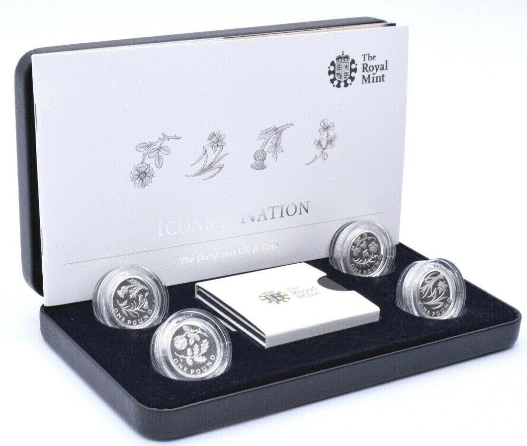 2013 Silver Piedfort Proof Floral £1 Four Coin Set Royal Mint BOX + COA