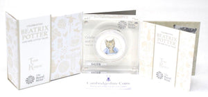 2017 Brand New Beatrix Potter Colour Tom Kitten Silver Proof 50p BOX + COA
