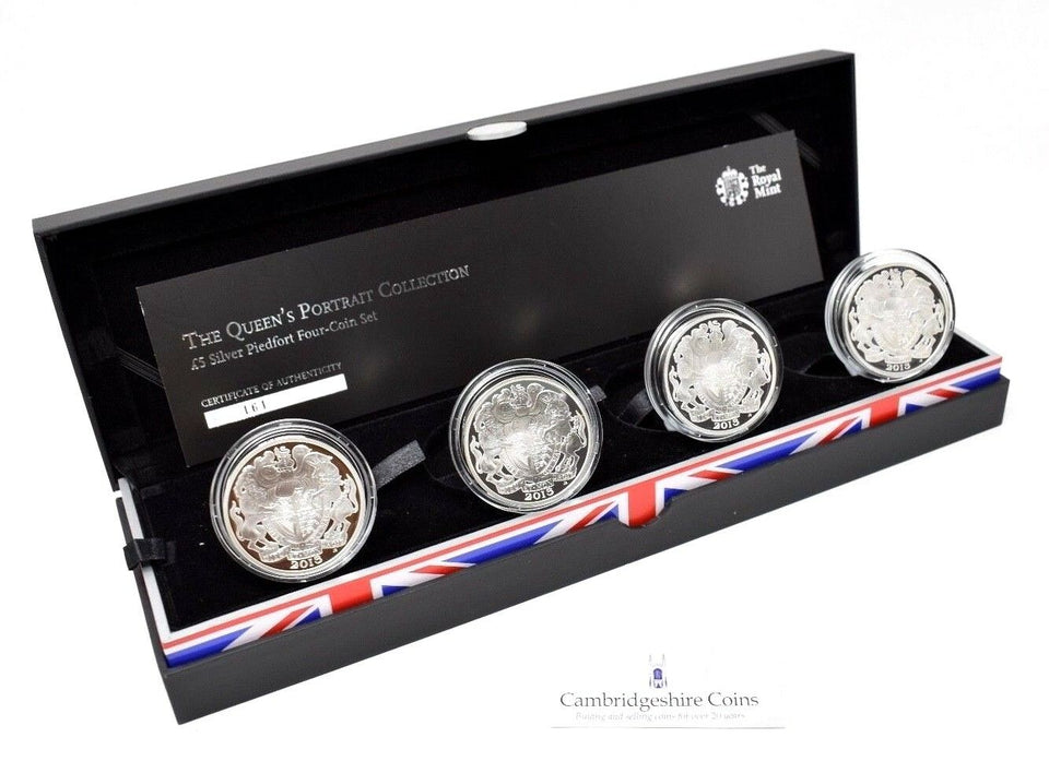 2013 Silver Proof Piedfort Queens Portrait £5 4 Coin Collection Box COA Gift CC