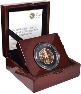 2016 22 Carat Gold Proof 1066 Battle of Hastings 50p Fifty Pence Coin BOX + COA