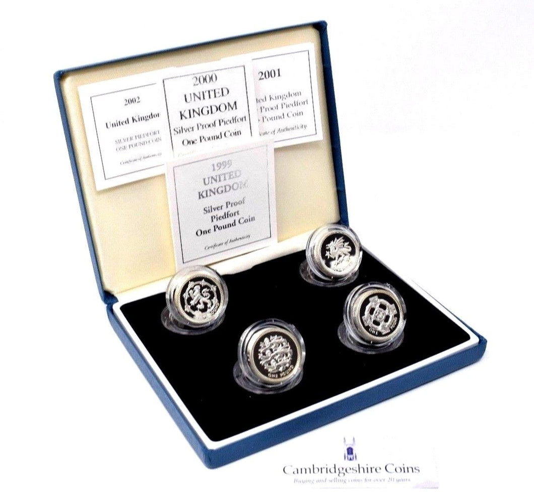 1999-2002 Silver Proof PIEDFORT £1 Coin Set Royal Mint COA