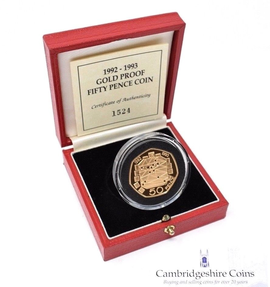 1992 1993 Gold Proof 50p EEC Coin Box COA Rare