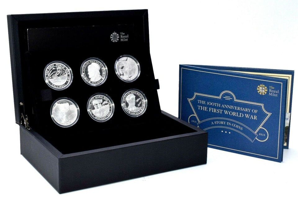 2015 Royal Mint WWI Reality in the Grip of Conflict 6 Coin Silver Proof Set