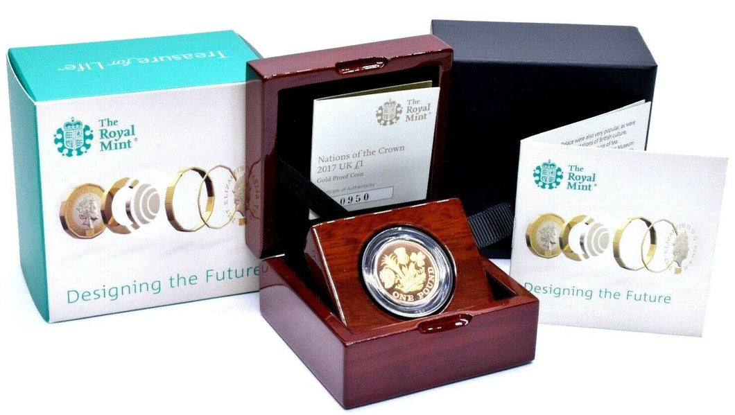 2017 GOLD PROOF £1 NATIONS OF THE CROWN ROYAL MINT BOX AND COA