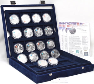 2009 2010 Silver Proof £5 Celebration Of Britain 18 Coin Set Box COA Royal Mint