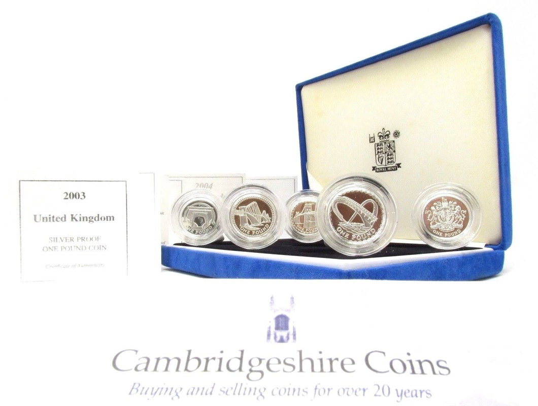 1994 1997 Silver Proof Piedfort £1 4 Coin Collection Box COA Royal Mint