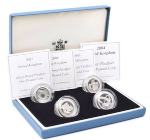 2004 - 2007 Silver Proof 4 Coin Piedfort Set £1 Box COA Bullion One Pound Mint