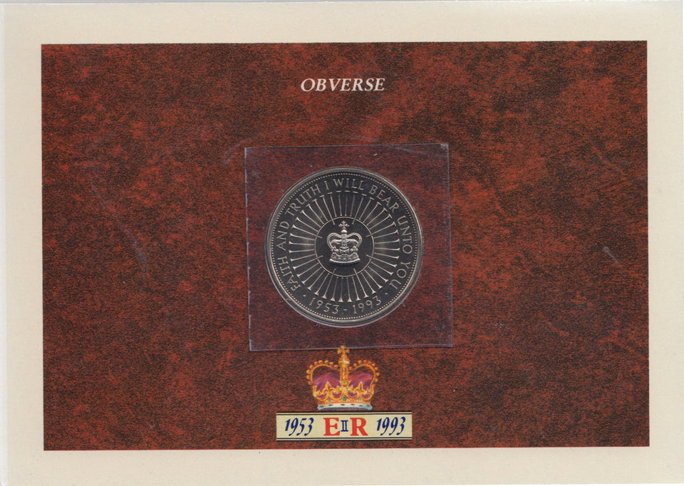 1993 Brilliant Uncirculated £5 Coin Presentation Pack 40th Coronation Anniversary