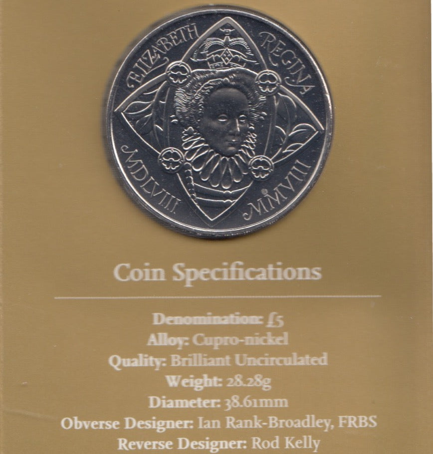 2008 Brilliant Uncirculated £5 Coin Presentation Pack 450th Anniversary of Elizabeth I