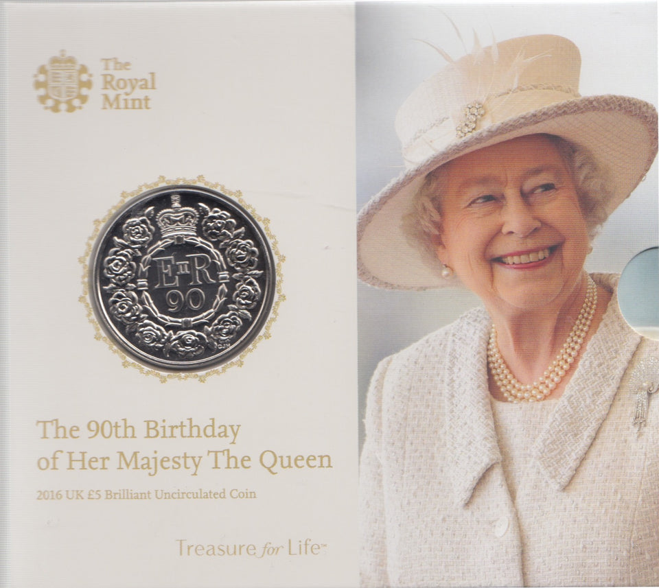 2016 Brilliant Uncirculated £5 Coin Presentation Pack Queens 90th Birthday