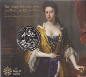 2014 Brilliant Uncirculated £5 Coin Presentation Pack 300th Anniversary Of The Death Of Queen Anne