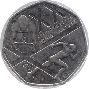 2014 CIRCULATED 50P XX COMMONWEALTH GAMES