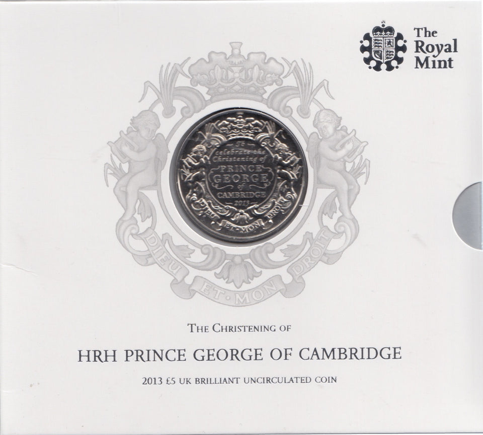 2013 Brilliant Uncirculated £5 Coin Presentation Pack Prince George Christening