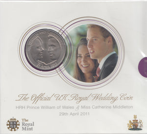 2011 Brilliant Uncirculated £5 Coin Presentation Pack Prince William and Catherine Royal Wedding