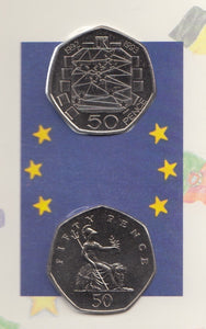 1992 1993 Europe Brilliant Uncirculated 50p Coins 2 Coin Pack EEC Council RARE