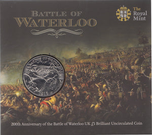 2015 Brilliant Uncirculated £5 Coin Presentation Pack 200th Anniversary Of The Battle Of Waterloo
