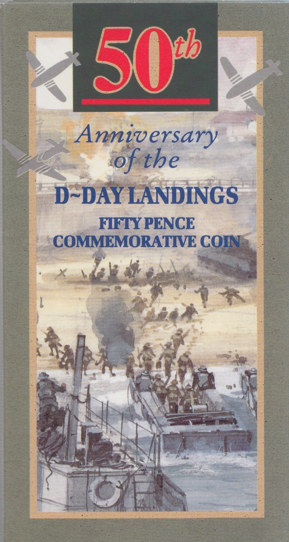 1994 Brilliant Uncirculated 50p Coin D-Day Landings Commemorative Coins Pack Sealed BU