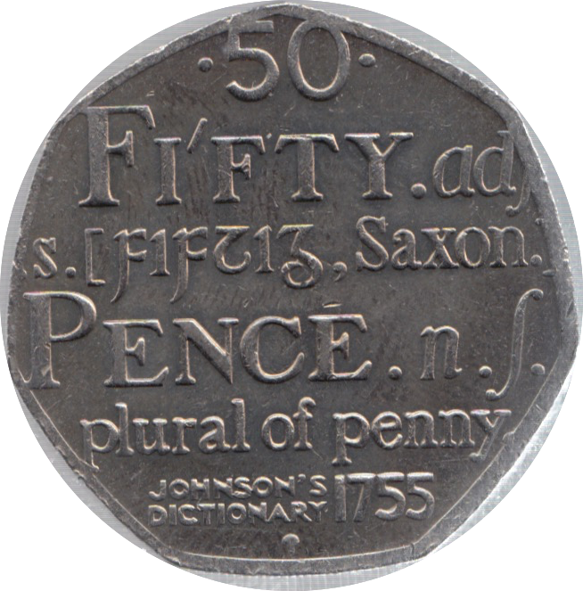 2005 CIRCULATED 50P DICTIONARY S JOHNSON