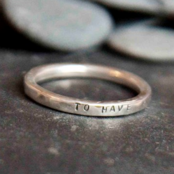 Personalised Silver Lyric Ring