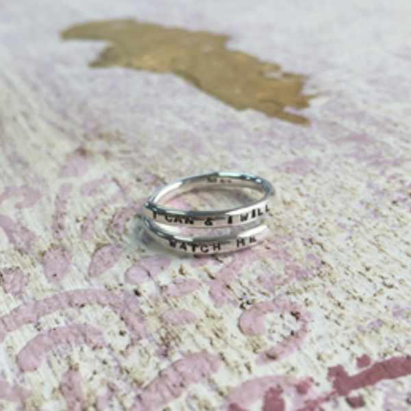 Personalised Silver Adjustable Lyric Rings