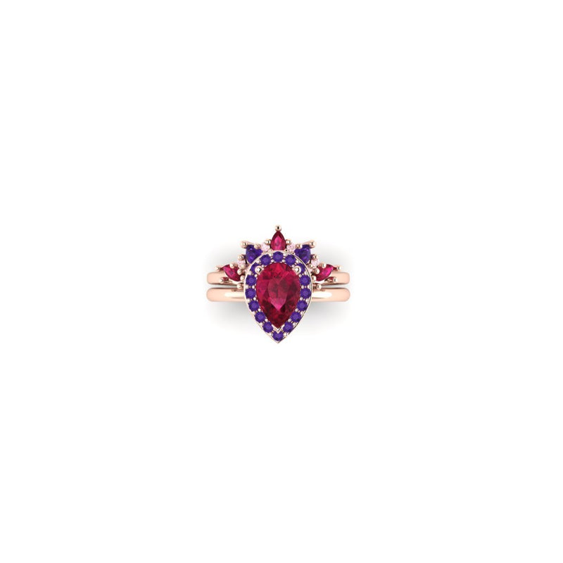 Baroque Radiance Set in Rose with Rubies and Sapphires