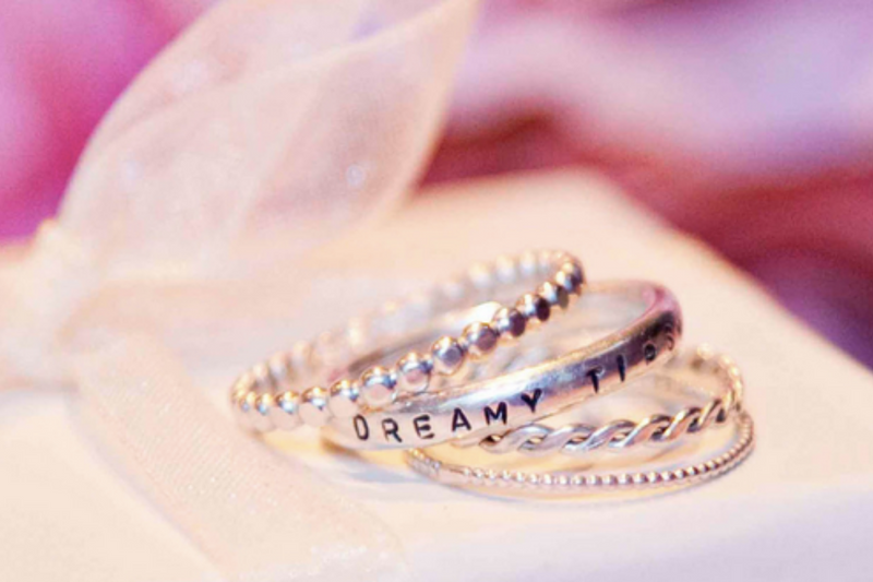 Textured Silver Stacking Rings & Personalised Lyric Ring