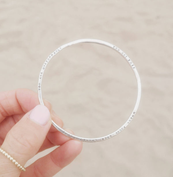Personalised Silver Lyric Bangle