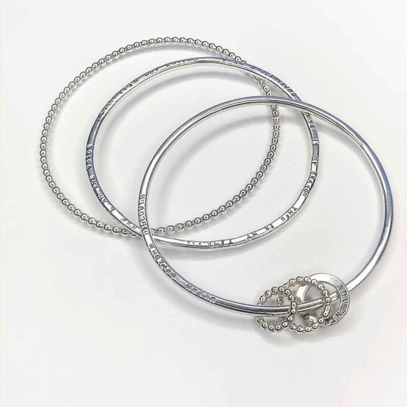 Silver Textured Ball Bangle & Personalised Lyric Bangles