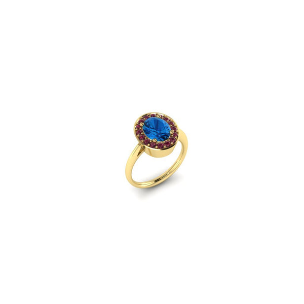 Swiss Blue Topaz Halo in Yellow