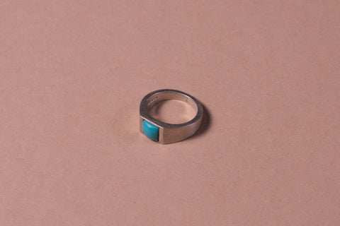 Square gem signet ring