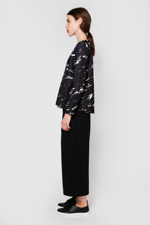 anfangen top black scatter print