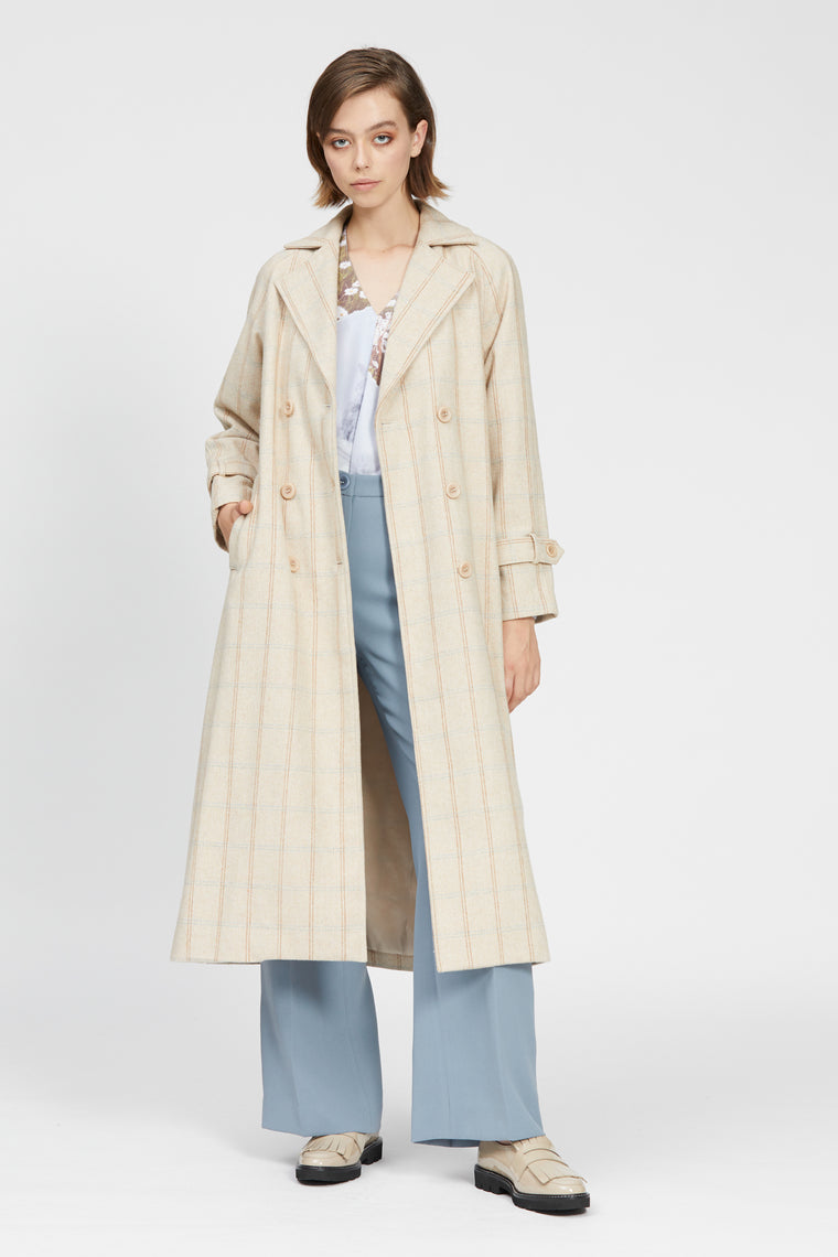 barrack trench beige check
