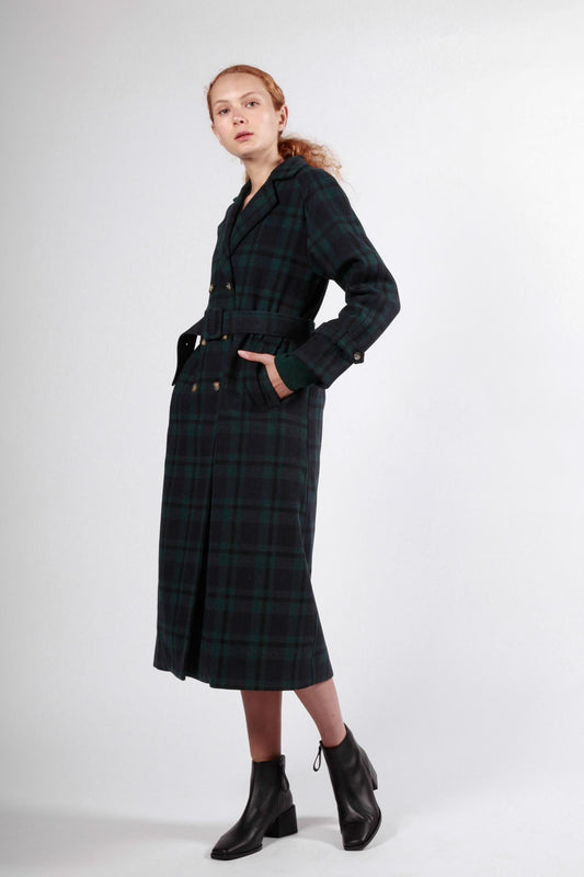 barrack trench navy green plaid