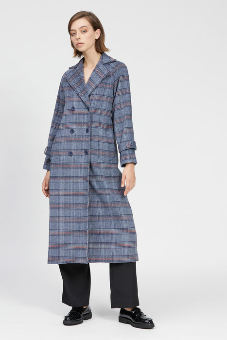 barrack trench navy check
