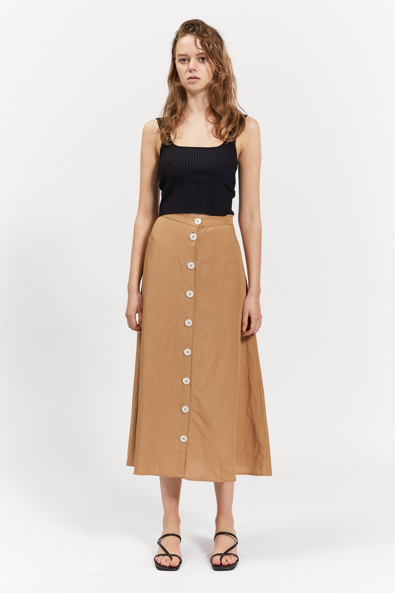 bass skirt camel